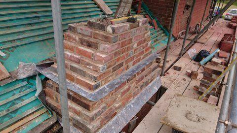 Chimney, lime, reclaimed bricks